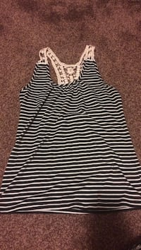 Black and white laced striped tank top