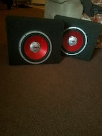 black and red 10in Sony subwoofer speaker