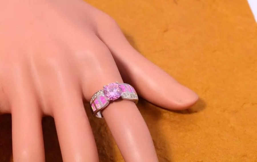 Photo ( SALE ) Pink fire opal & pink CZ gems silver ring