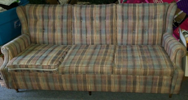 Admirable Brown And Blue Plaid Fabric 3 Seat Sofa Gamerscity Chair Design For Home Gamerscityorg