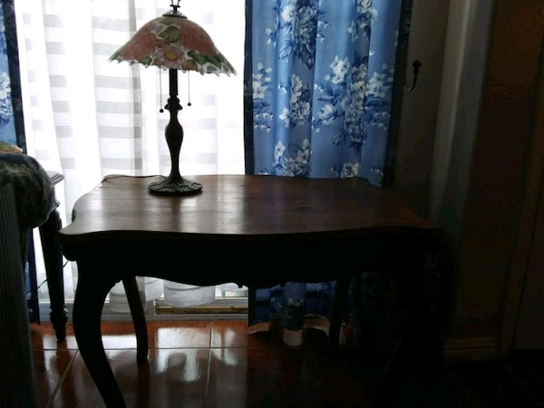 brown wooden framed  top table