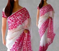 White with pink floral border  Dehradun