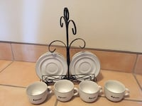 Set of 4 coffee cups & plates with Stand Montréal, H1M 3V3