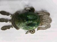 Mexican silver and jade brooch