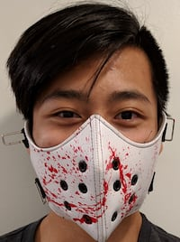 NEW STEAMPUNK WHITE BLOOD SPATTER BICYCLE HALF MASK