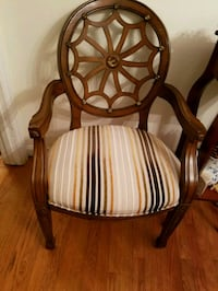 brown wooden framed white padded armchair 285 mi