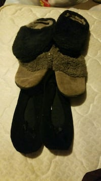 pair of three assorted-color house slippers