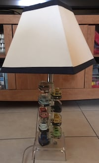 White and  navy blue table lamp with built in cars on the stand!