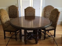 "60"" Round table with 6 upholstered chairs, like new $750. Original price $3500 Sandy Springs, 30342"
