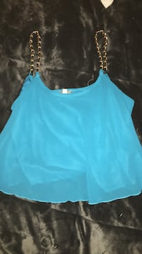 Turquoise crop top with faux chain straps Oklahoma City, 73159