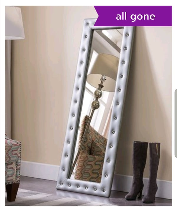 ** BRAND NEW IN BOX , NEVER OPENED **  SILVER FLOOR LENGTH MIRROR  ce77411f-7a16-42a8-a0cd-9718e843f045