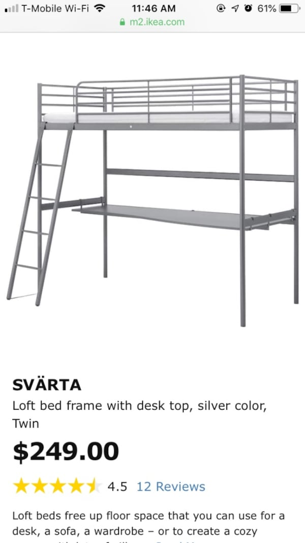 Used Ikea Loft Bed Frame With Desk Top