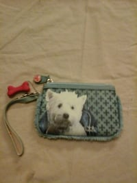blue and white puppy printed wristlet