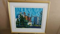 Brown wooden framed painting of house near body of New Westminster, V3M 1W5