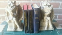 "2 Gargoyle 8 "" plaster Bookends With 3 old books P Newmarket, L3Y 3J3"