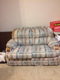 gray and blue fabric 3-seat sofa Bourg, 70343