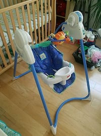 baby's white and blue swing chair Kearny, 07032