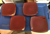 "4 x Gibson Elite plates in dark red 10.75"" x 10.75"" Washington, 20036"