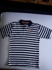 white and black Ralph Lauren striped cap-sleeved shirt