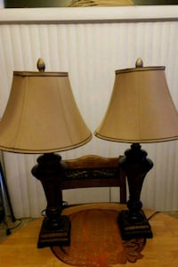 two black base table lamps with brown lampshades Germantown, 20874