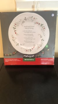White and red holly ceramic plate