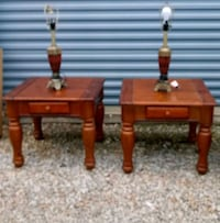 2 end tables solid cherry wood with 2 matching cherry lamps W/tops