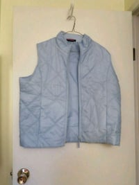 Perfect for those autumn strolls XL ladies vest in baby blue Stony Plain