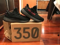 Pair of black adidas yeezy boost 350 with box