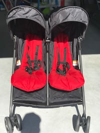 Zobo 2x baby's black and red twin umbrella stroller