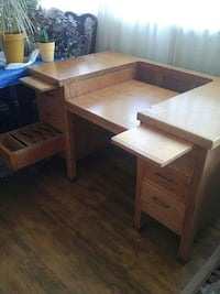beige wooden desk