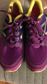 Pair of purple-blue-and-yellow new balance running shoes Revere, 02151