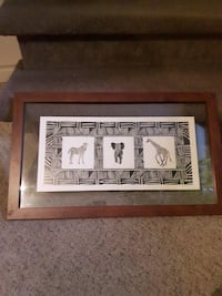 Animal print art with frame