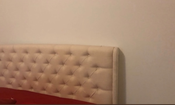 Queen Size..Tufted white leather tufted bed headboard