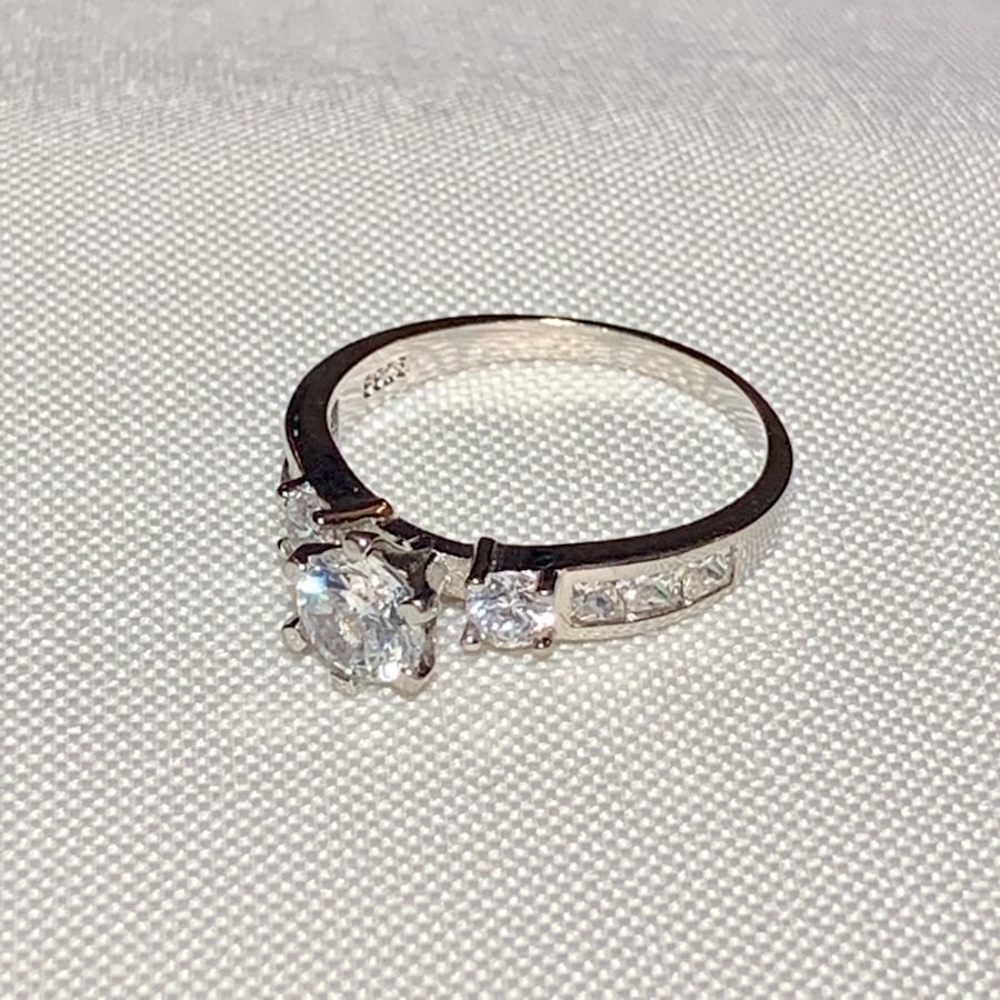 Vintage Sterling Silver Diamond Cocktail Ring