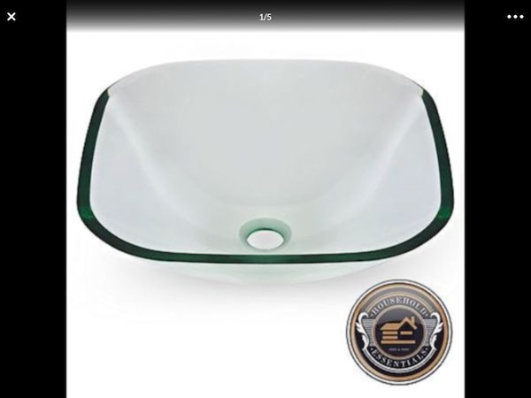 SQUARE CLEAR GLASS VESSEL SINK..... CHECK OUT MY P 842b9e87-c5dc-4ad7-891b-7d668d3042bd