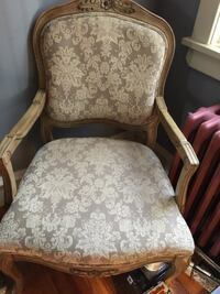 (2) wooden beige floral padded armchair