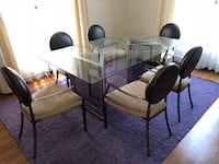 rectangular glass top table with four chairs dining set Beverly Hills, 90212