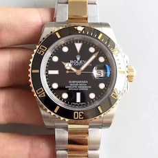 round Rolex analog watch with silver and gold 2-tone link bracelet