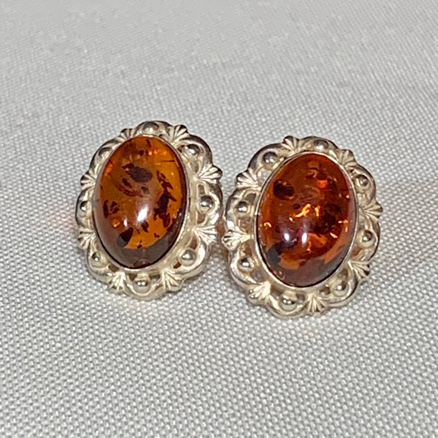 Antique Sterling Silver Baltic Amber Earrings