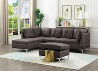 Brand New Brown Linen Sectional Sofa Couch + Storage Ottoman Silver Spring, 20902
