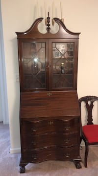 Brown wooden framed glass display cabinet Maryland Heights, 63146