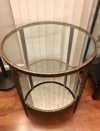 round brown wooden framed glass top side table Reston, 20190