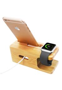 New phone and watch charging dock bamboo
