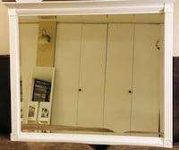 """Large white mirror with crown molding top, finished edges, and 4 medallion corners.  Measures 36"""" in width and 31"""" tall.  Would look great over a dresser or vanity. Falls Church, 22046"""