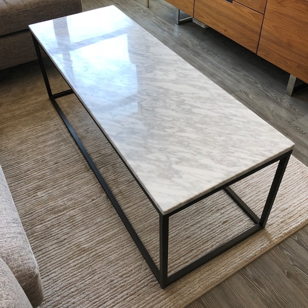West Elm Box Frame Narrow Coffee Table Marble Antique Bronze