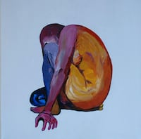 """Original Painting - """"Crouched Girl"""" Vancouver, V5X"""