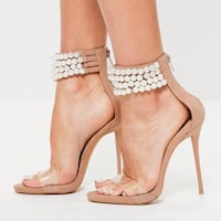 MISSGUIDED PEACE & LOVE PEARL STRAP HEAL US Size 7    VANCOUVER