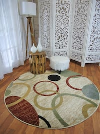 NEW Round Area Rug modern rug Cream 5 ft Round