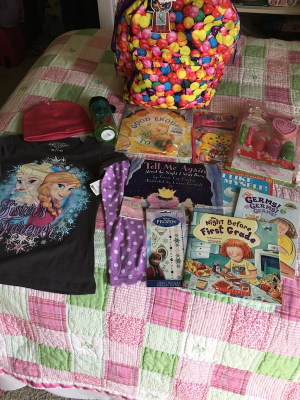 Girls gift set~ backpack, size 6/6x, scholadtic books, hat, frozen tattoos, water bottle.