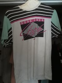 white, black, and teal stripe boat-neck shirt